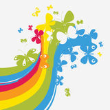 Rainbow flying with buttrflies Royalty Free Stock Photography