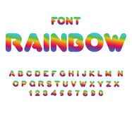 Rainbow font. Rounded ABC. Multicolored letters. Fantastic alpha. Bet. Fairy typography Stock Photo