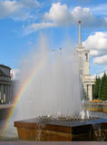 Rainbow in fontana Fotografia Stock Libera da Diritti