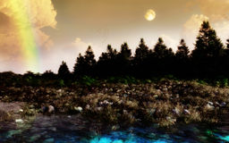 Rainbow Forest. Forest, waterside, trees and moon. Serene natural landscape environment Stock Photography