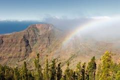 Rainbow in the fortress Chipude, La Gomera, Spain stock image