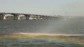 Rainbow in fountain stock video footage