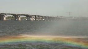 Rainbow in fountain stock video
