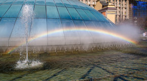 Rainbow in a fountain. Kiev Stock Images