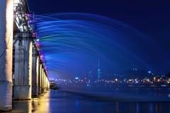 Rainbow fountain show at Banpo Bridge in Korea. Stock Photos