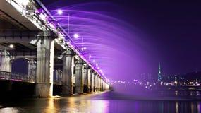 Rainbow fountain show at Banpo Bridge in  Korea. Royalty Free Stock Image