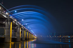 Rainbow fountain show at Banpo Bridge Stock Photo