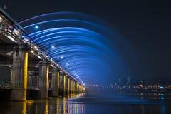 Rainbow fountain show at Banpo Bridge. Seoul, Soth Korea Stock Photo