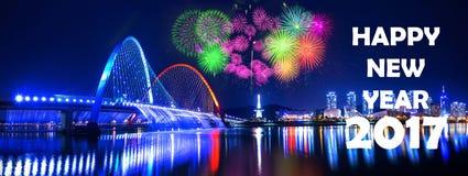 Rainbow fountain show at Expo Bridge and firework festival in Daejeon,South Korea Stock Image