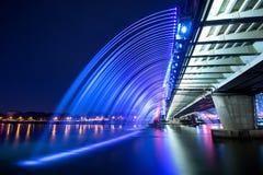 Rainbow fountain show at Expo Bridge in Korea. Stock Image
