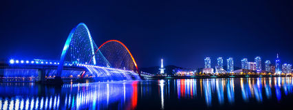 Rainbow fountain show at Expo Bridge in Korea. Rainbow fountain show at Expo Bridge in South Korea royalty free stock photography