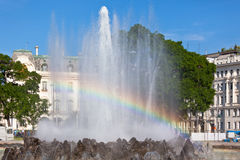 Rainbow in Fountain in Vienna Stock Photography