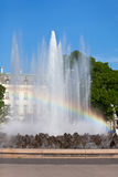 Rainbow in Fountain in Vienna Stock Photo