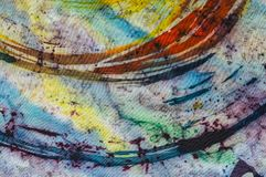 Rainbow, fragment, hot batik, background texture, handmade on silk. Abstract surrealism art royalty free stock photography