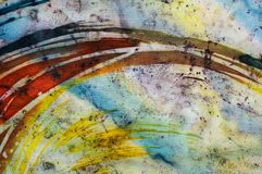 Rainbow, fragment, hot batik, background texture, handmade on silk. Abstract surrealism art royalty free stock images