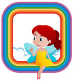 Rainbow frame design with cute fairy Royalty Free Stock Photography