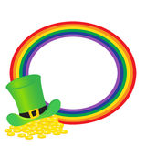 Rainbow frame with gold  clover Royalty Free Stock Image