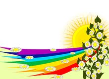Rainbow frame. A illustration of rainbow, sun, and flower Royalty Free Stock Image