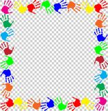 Rainbow frame with multicolored handprints border. Bright rainbow frame with empty copy space for text or image and multicolored handprints border isolated on Stock Photos