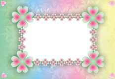 Rainbow frame or postcard. Vector frame or postcard with clover on the frame and rainbow background Stock Photos