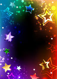 Rainbow frame with stars. Rainbow, glowing frame with bright stars on a dark background. Design with stars. Rainbow Star stock image