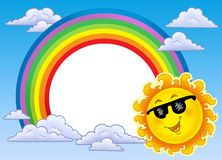 Rainbow frame with Sun in sunglasses. Color illustration Stock Image