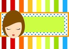 Rainbow frame tag with girl face. Frame border with a girl face and rainbow stripes Stock Photography