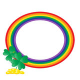 Rainbow Frame With Gold Clover Stock Photos