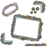 Rainbow frames. Set of colorful hand drawn frames and elements for design Stock Photo