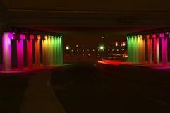 The Rainbow Freeway. Lighting creates an urban pathway between downtown San Antonio and historic Sunset district Royalty Free Stock Photos