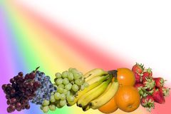 Rainbow of fruit Stock Photos