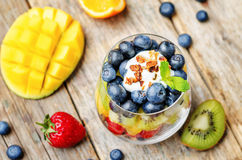 Rainbow fruit granola and Greek yogurt parfait Royalty Free Stock Photo