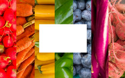Rainbow Fruits and Vegetables Collage Royalty Free Stock Photos