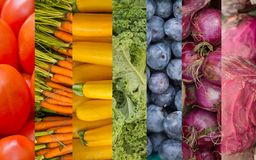 Rainbow Fruits and Vegetables Collage Royalty Free Stock Photography