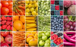 Rainbow Fruits and Vegetables Collage Royalty Free Stock Images