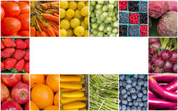 Rainbow Fruits and Vegetables Collage Royalty Free Stock Image