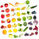 Rainbow of fruits and vegetables Stock Photos