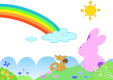 Rainbow with funny animals - vectorial illustratio stock illustration