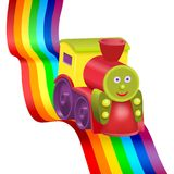 Rainbow and funny locomotive Stock Image
