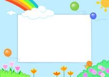 Rainbow with cute slug and flowers, frame