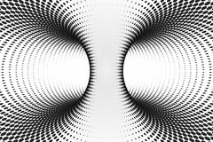 Black and white dotted spiral tunnel. Striped twisted spotted optical illusion. Abstract halftone background. 3D render. Rainbow funny spiral tunnel. Striped royalty free illustration
