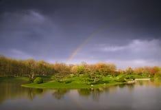Rainbow in garden Royalty Free Stock Photography