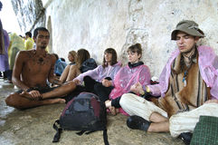 Rainbow gathering in Palenque Stock Photo