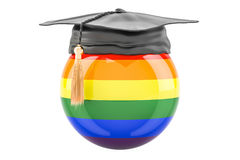 Rainbow gay flag with a graduation cap, 3D rendering Royalty Free Stock Image