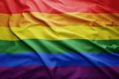 Rainbow gay flag. Waving colorful Rainbow gay flag royalty free stock photography