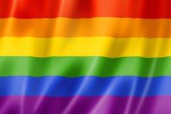Rainbow gay pride flag. Three dimensional render, satin texture royalty free illustration
