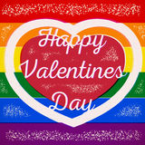 Rainbow gay themed Valentines Day card Stock Image