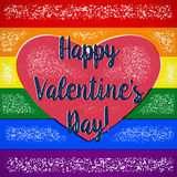 Rainbow gay themed Valentines Day card with shifted colors Royalty Free Stock Images