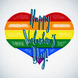 Rainbow gay themed Valentines Day card with shifted colors Royalty Free Stock Photos