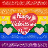 Rainbow gay themed Valentines Day card with shifted colors Stock Photography